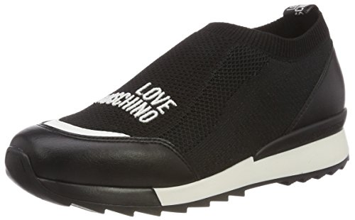 Love Moschino Damen Scarpad.power25 Calzino Nero + Vit.ne Slip On Sneaker Mehrfarbig (nero-bianco)