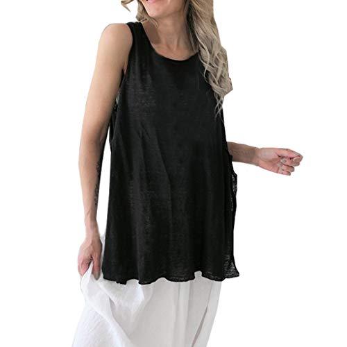 Zlolia Women's Solid Color Irregular Hem Vest Long Sleeveless Lightweight Top Blouses Summer Fashion Casual Pullover Black