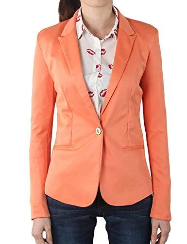 Sudore Giacche Monocromo Autunno Donna Fit Elegante Da Lunga Classiche Tasche Vintage Arancia Slim Blazer Con Primaverile Giacca Button Tailleur Fashion Manica vHqdz