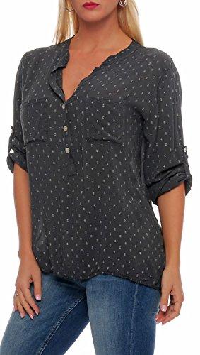 Unique Taille Blouse avec Malito Femme Tunique Ancre fonc Oversize gris Loose 9013 4 3 Haut Print Fq7wOx1q