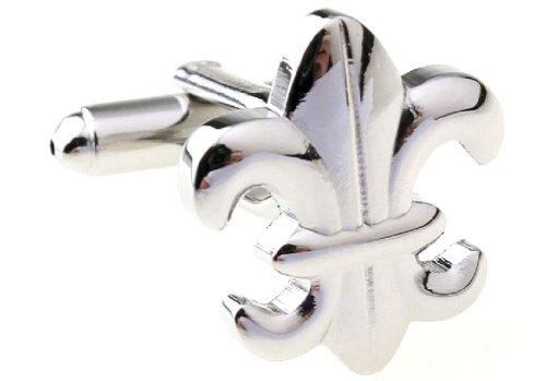 MRCUFF Fleur De Lis Pair Cufflinks in a Presentation Gift Box & Polishing Cloth