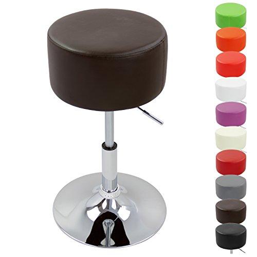 WOLTU BH14br-1 Design Hocker mit Griff , stufenlose Höhenverstellung , verchromter Stahl , Antirutschgummi , pflegeleichter Kunstleder , gut gepolsterte Sitzfläche , braun
