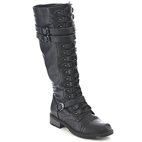 Boots Black Shoes Fashion 7 Knee Combat High Military US LnLyin Women's Black 5 7YqSTT