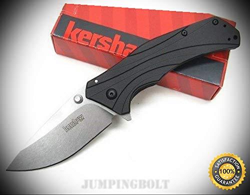 Black Knockout Assisted Straight Stonewash Folding Pocket Knife 1870 - Premium Quality Very Sharp EMT EDC