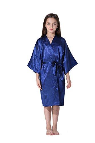 Vogue Forefront Girls Satin Plain Kimono Robe Bathrobe Nightgown