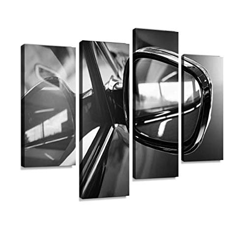 IGOONE 4 Panels Canvas Paintings - Black car Side Mirror Close up, -