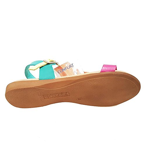 Sandalia piel turquesa multi tira empeine. Talla 39