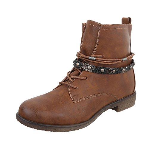 Ital-Design Schnürstiefeletten Damenschuhe Schnürstiefeletten Blockabsatz Schnürer Reißverschluss Stiefeletten Camel 378-PA