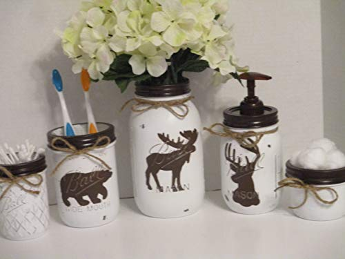 5 piece woodland soap and toothbrush holder storage set deer bear moose in white and brown