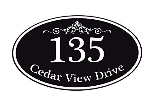 Customized Home Address Sign, Aluminum 12'' x 7'' Oval House Number Plaque, Personalized Color Choices Available (Black) by Customized Solutions