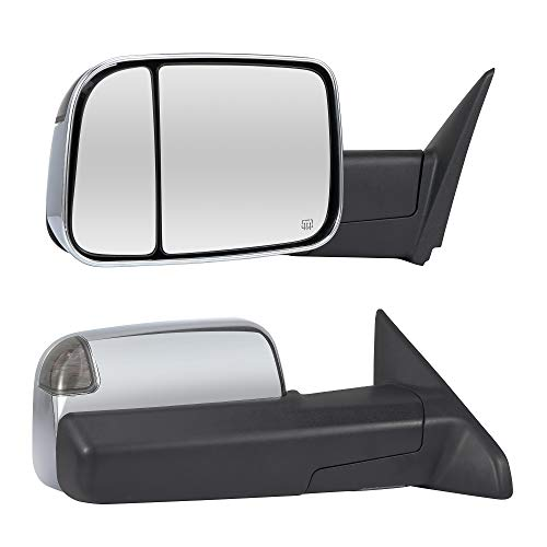 (Towing Mirrors Passenger & Driver Side Power Operated & Heated With Smoked Signal Chrome Finish & Temperature Sensor Fits 09-17 Dodge Ram 1500 2500 3500 - Manual Folding)