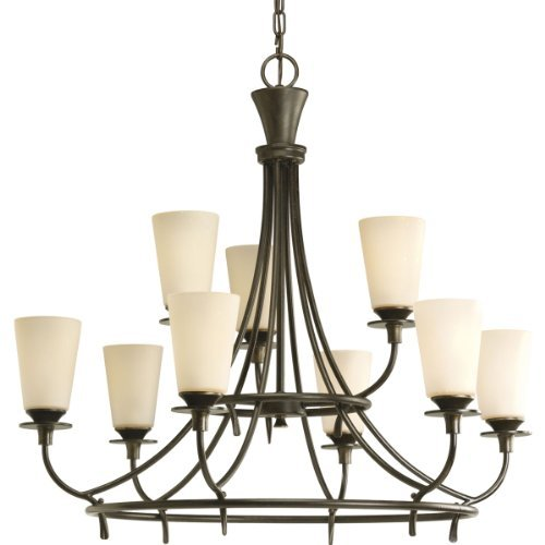 Progress Lighting P4039-77 9-Light Two-Tier Cantata Chandelier, Forged Bronze by Progress (Cantata 2 Light)