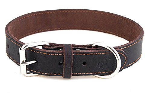 Reopet Leather Dog Collar - Brown Full Grain Latigo Leather, Soft & Durable - Best Geniune Leather Dog Collar for Medium & Large Dogs - 1.4