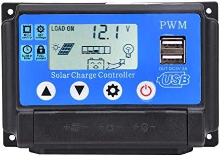 Alomejor Solarpanel Laderegler Ladegerät Intelligenter Regler mit USB-Anschluss LCD-Display für Heimindustrie