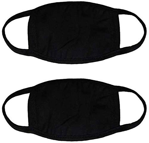 Mouth Mask 3 Layers, Anti Flu and Anti-dust, Soft and Reusable Cotton Mouth Face Masks Mouth Cover for Man and Woman, Safe for Smoke, Comfortable Mask (Black) (2 pack)