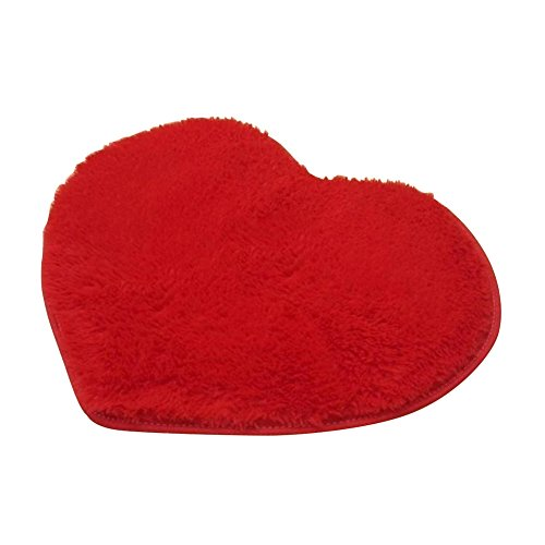 (DAVEVY Bathmat Bath Absorbent Carpet Lovely Heart Shape Anti Slip Mat Floor Bathtub Bedside Area Rug (Red))