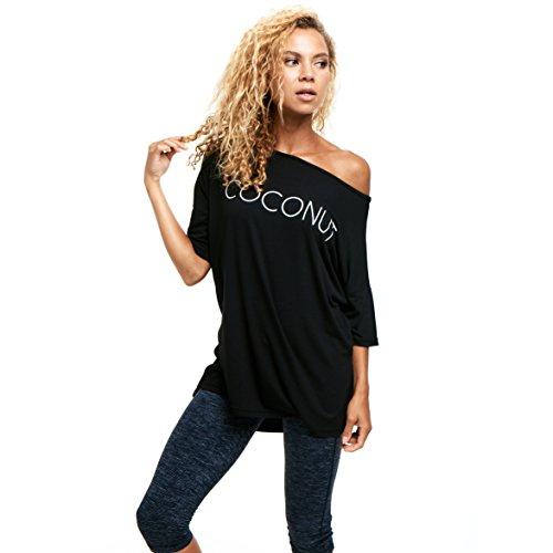 Limber Stretch Frauen-Boot-Ausschnitt in Über Casual T -Shirt mit Seitenschlitzen COCONUT Drucken