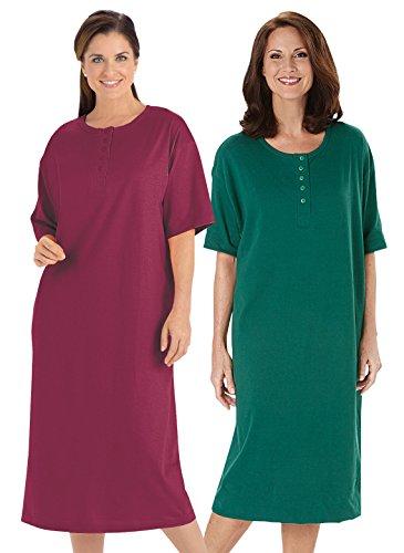 Womens Henley Nightshirt (Henley Nightshirts Set of 2, Burgundy/Hunter, Size Small/Large)
