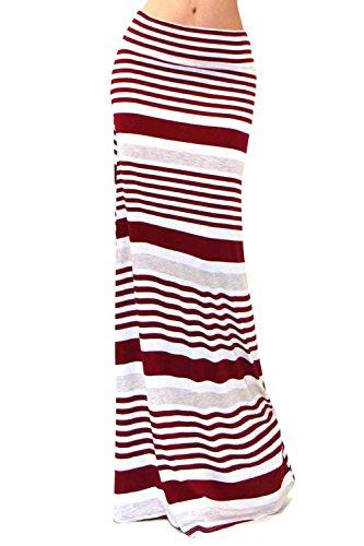 VIVICASTLE Women's Asymmetric Striped Fold Over Waist Long Maxi Skirt