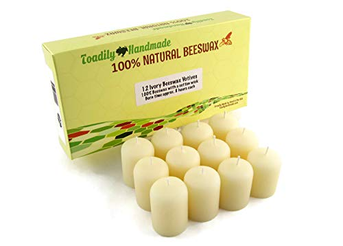 - One Dozen (12) Hand Poured Solid Beeswax Votive Candles in Ivory Wax - 100% Beeswax Candles by Toadily Handmade - Now Packaged in an Attractive Gift Box! - Made in The USA