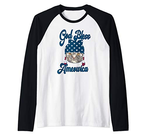 God Bless America Cat Lovers Patriotic Shirt Gift Raglan Baseball Tee