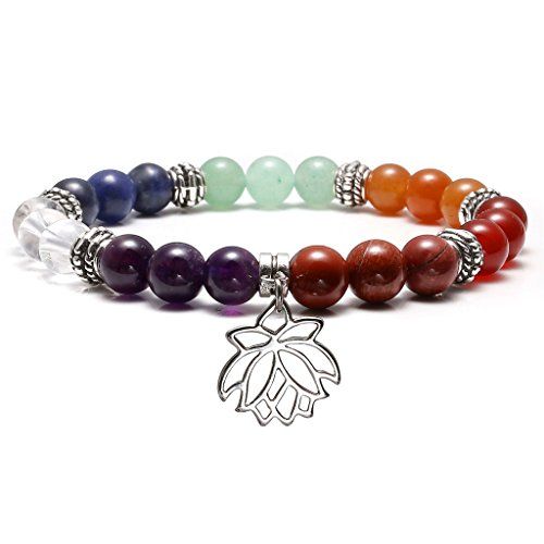 Top Plaza 7 Chakra Healing Bracelet Real Stones Yoga Meditation Mala Bead Bracelets for Women, Lotus ()