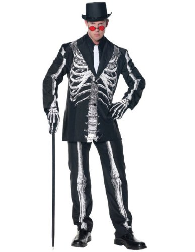 Mens Halloween Suits (Underwraps Men's Bone Daddy, Black/White, X-Large)