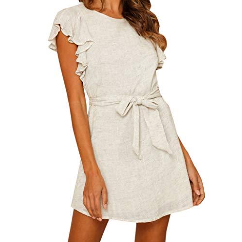 [해외]여자 여름 예쁜 캐주얼 높은 허리 보호 프 릴 솔리드 넥타이 비치 미디 드레스 / Women Summer Pretty Casual High Waist Boho Ruffle Solid Tie Up Beach Midi Dress