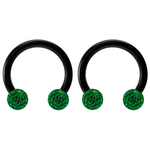 (2pc 16g CZ Emerald Green Crystal Circular Barbell Horseshoe Earrings Black Hoop Piercing Rings 5/16)