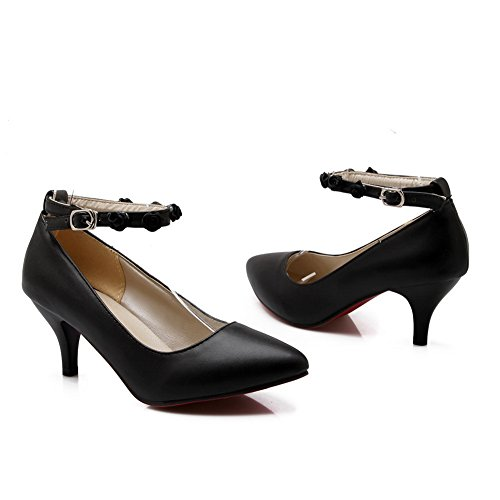 Balamasa Mujeres Buckle Low-cut Uppers Zapatos Con Punta De Uretano Pumps Zapatos Black