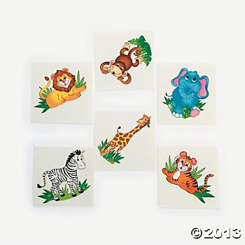 (Fun Express 72 Adorable Zoo Animal Tattoos/Zebra/Lion/Elephant/Monkey/Tiger/Giraffe/Safari/Jungle/Birthday Party Favors/6)