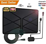 2019 Newest TV Aerial,Indoor Amplified Digital HDTV Aerial 65-100 Mile Range with 4K 1080P HD VHF UHF Freeview TV for Life Local Channels Broadcast for All Types of Home Smart Television (Black)