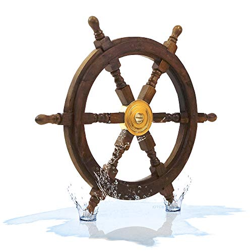 Boat Wheel - Nautical Decor Sheesham Wood Decorative Ship Wheel with Brass Center Home Decoration Gifts (24