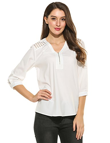White 3/4 Sleeve Top - 4