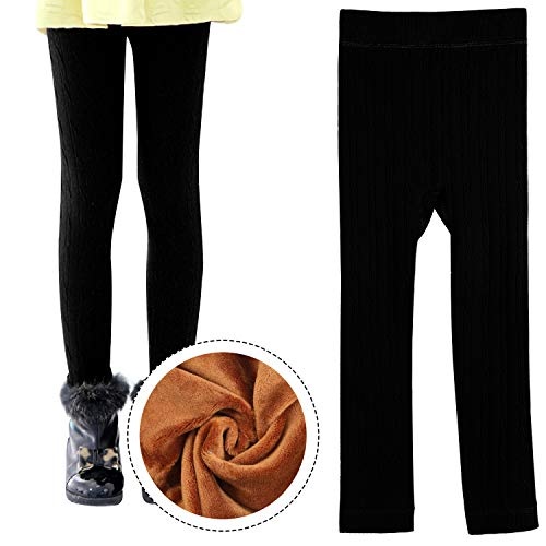 inter Warm Velvet Leggings Pant Striped Cable Knit Fleece Lined Tights for Girls 3-4 Year Old Black ()