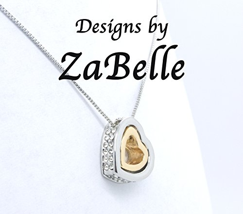 Designs by ZaBelle Floating Double Heart Pendant Necklace ()