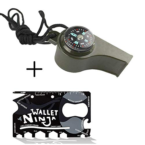 Whistle With Lanyard- Include a Credit Card Tool- Self Defense Whistle Rescue Whistle Emergency Whistles for Camping, Hiking