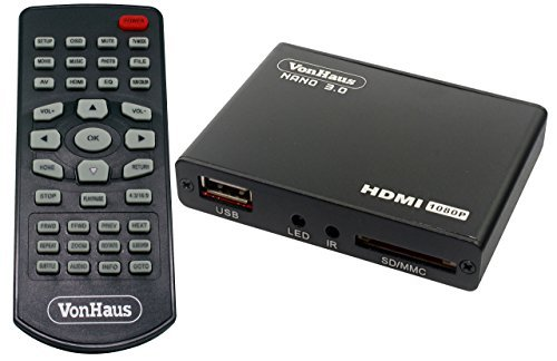 VonHaus 1080p HD TV Mini Media Player - MKV - Play any file from USB HDDs/Flashdrives/Memory Cards - HDMI and AV Cables Included (Through Any Usb)
