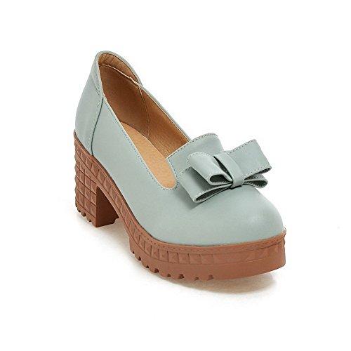 Allhqfashion Femme Pu Solide Pull-on Bout Rond Fermé Talons Hauts Pompes-chaussures, Bleu, 37