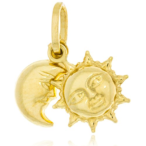 Solid Gold 14K Charm Dangle Pendant of Sun and Moon Made in Italy 14.5mm Tall by 15.8mm Wide | ()