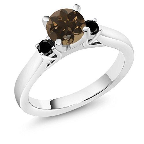 Green Quartz Enhancer (1.00 Ct Round Brown Smoky Quartz Black Diamond 925 Sterling Silver 3-Stone Ring)