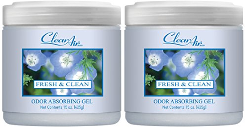 (Clear Air Odor Absorber Gel - Air Freshener - Absorbs and Eliminates Odors in Bathrooms, Cars, Boats, RVs and Pet Areas - Made with Natural Essential Oils - 2 Pack (2 x 15 OZ) (Fresh & Clean))