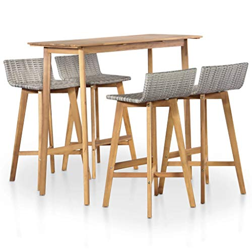 Festnight 5 Piece Bar Table Set Counter Height Dining Table with 4 Stool Acacia Wood Pub Set for Breakfast Bistro Kitchen Dining Room Indoor Outdoor Furniture