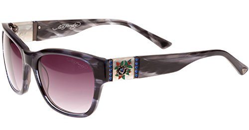 Hardy Womens Roses Ed (Ed Hardy Black Rose Sunglasses Grey Horn Grey Gradient 54 18 135)