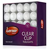 Lerner Pack of 100 Clear Cup White Unscented Tea Light Candles Aprox 4.5 Hour Burning Time