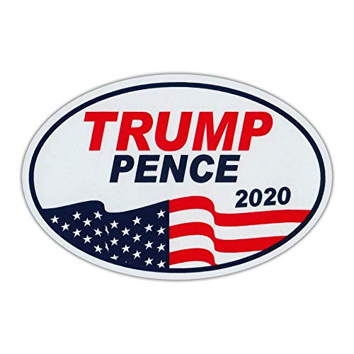 Crazy Novelty Guy Oval Shaped Magnet - Donald Trump, Mike Pence 2020 (Waving Flag) - Magnetic Bumper Sticker, Campaign Magnet - 6