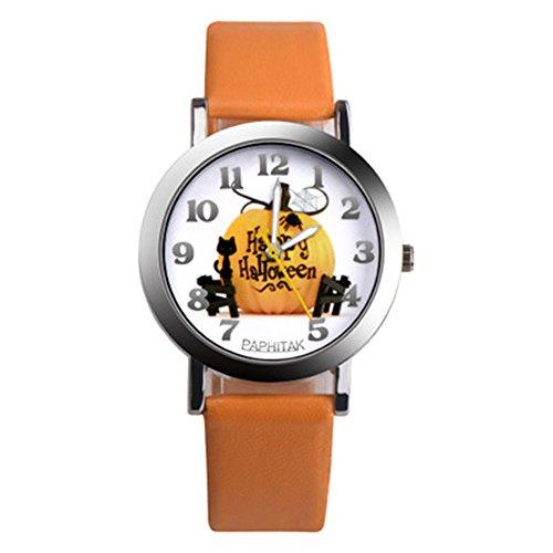 (Leaftree - Children Cute Halloween Pumpkin Round Quartz Wrist Watches Casual Bracelet Clock)