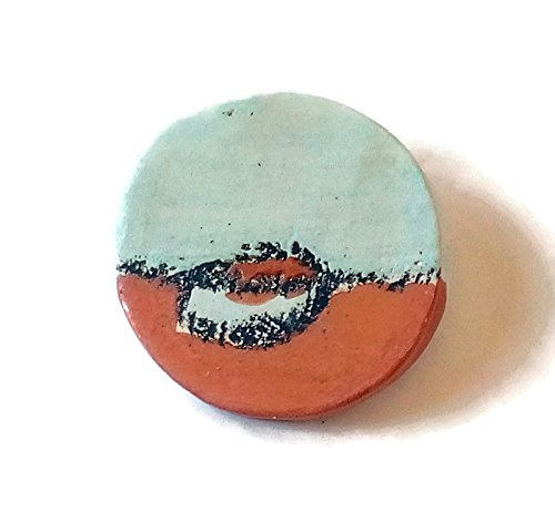 Red ceramic brooch, glazed ceramic pin, porcelain jewelry (Porcelain Pin Hat)