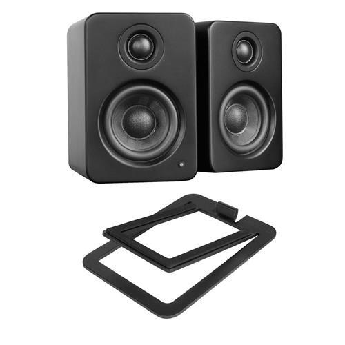 Kanto YU2 2x 25W RMS Powered Desktop Speakers, Pair, Matte Black - With S2 Desktop Speaker Stands, Pair, (4x10' 2 Way Speakers)
