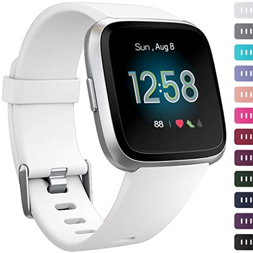(Ouwegaga Compatible for Fitbit Versa Bands Versa Lite Bands Straps White Small)